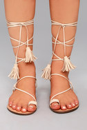 Veronica Nude Lace-Up Flat Sandals 1