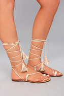 Veronica Nude Lace-Up Flat Sandals 2