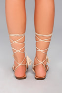 Veronica Nude Lace-Up Flat Sandals 3