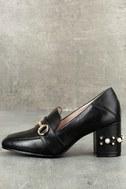 Steve by Steve Madden Layla Black Leather Block Heels 1