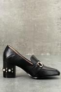 Steve by Steve Madden Layla Black Leather Block Heels 2