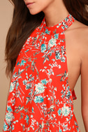 Poppy Parade Red Floral Print Halter Top 4