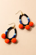 Ablaze Black and Orange Pom Pom Earrings 2