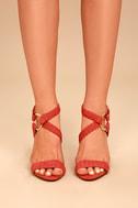 Cusco Cinnamon Red Suede Ankle Strap Heels 1