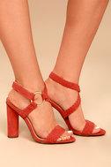 Cusco Cinnamon Red Suede Ankle Strap Heels 2