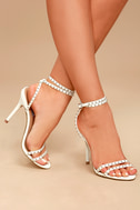 Steve Madden Wish White Leather Studded Ankle Strap Heels 2