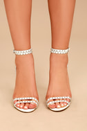 Steve Madden Wish White Leather Studded Ankle Strap Heels 1