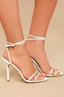 Steve Madden Wish White Leather Studded Ankle Strap Heels 3