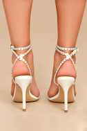Steve Madden Wish White Leather Studded Ankle Strap Heels 4
