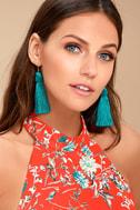 Temptress Teal Blue Tassel Earrings 2