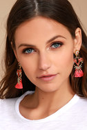 Bouquet For Today Gold and Pink Rhinestone Tassel Earrings 1