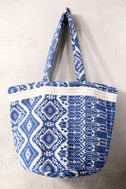 Billabong Beach Dwellin Blue Embroidered Tote 2