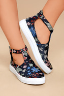 Anna Navy Multi Brocade T-Strap Sneakers 4