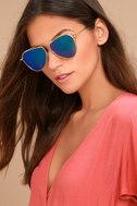 Keep Dancing Gold and Green Mirrored Aviator Sunglasses 3