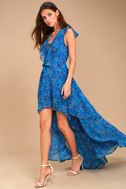 Always and Forever Blue Floral Print Lace-Up High-Low Dress 6