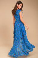 Always and Forever Blue Floral Print Lace-Up High-Low Dress 7