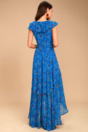 Always and Forever Blue Floral Print Lace-Up High-Low Dress 8