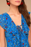 Always and Forever Blue Floral Print Lace-Up High-Low Dress 9