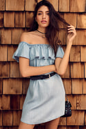 Standout Style Light Blue Chambray Off-the-Shoulder Dress 7