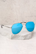 YHF Los Angeles Jenna Silver and Blue Aviator Sunglasses 2