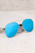 YHF Los Angeles Jenna Silver and Blue Aviator Sunglasses 3
