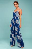 Shea Navy Blue Floral Print Jumpsuit 2
