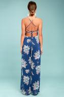 Shea Navy Blue Floral Print Jumpsuit 3