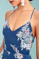 Shea Navy Blue Floral Print Jumpsuit 4