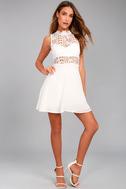 Elora White Lace Skater Dress 2