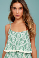Heart of the Desert Sage Green Floral Print Crop Top 1