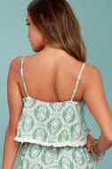 Heart of the Desert Sage Green Floral Print Crop Top 3
