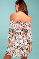Hello, Darling Blush Pink Floral Print Off-the-Shoulder Dress 3
