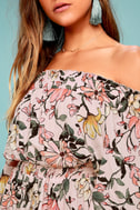 Hello, Darling Blush Pink Floral Print Off-the-Shoulder Dress 4
