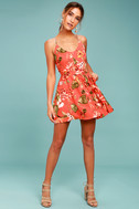 Ulani Rusty Rose Floral Print Skater Dress 2