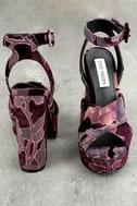 Steve Madden Jodi Burgundy Velvet Platform Ankle Strap Heels 3