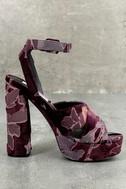 Steve Madden Jodi Burgundy Velvet Platform Ankle Strap Heels 2