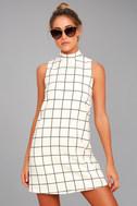 Chic By Design Cream Grid Print Dress 1