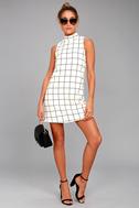 Chic By Design Cream Grid Print Dress 2