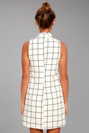Chic By Design Cream Grid Print Dress 3
