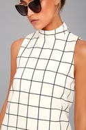 Chic By Design Cream Grid Print Dress 4