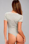 Charming Chance Heather Grey Striped Bodysuit 2