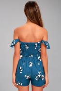 Exploring Florence Blue Floral Print Off-the-Shoulder Romper 3