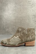 Seychelles Lantern Taupe Suede Leather Embroidered Ankle Booties 1