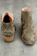 Seychelles Lantern Taupe Suede Leather Embroidered Ankle Booties 3