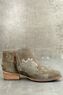 Seychelles Lantern Taupe Suede Leather Embroidered Ankle Booties 2