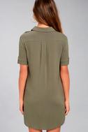 Oxford Comma Olive Green Shirt Dress 3