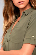 Oxford Comma Olive Green Shirt Dress 4