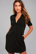 Oxford Comma Black Shirt Dress 1
