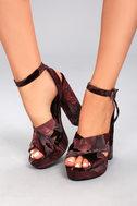Steve Madden Jodi Burgundy Velvet Platform Ankle Strap Heels 4
