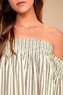 Billabong Free Flows Cream Striped Off-the-Shoulder Top 4